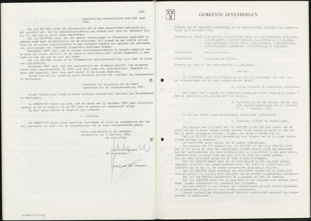 Zevenbergen: Notulen gemeenteraad, 1930-1996 1986-01-01
