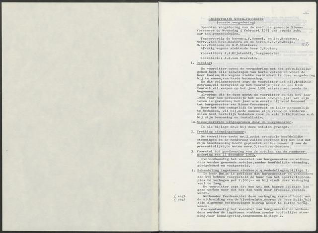 Nieuw-Vossemeer: Notulen gemeenteraad, 1957-1996 1981-01-01