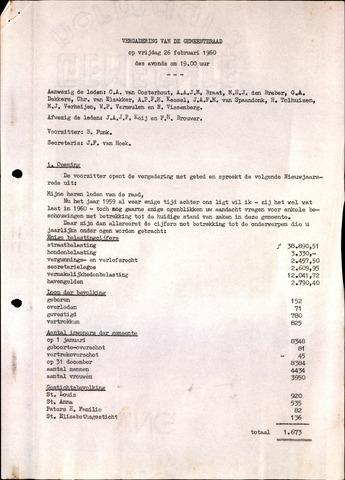 Oudenbosch: Notulen gemeenteraad, 1939-1994 1960-01-01