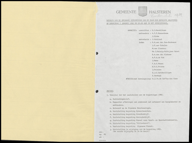 Halsteren: Notulen gemeenteraad, 1960-1996 1982