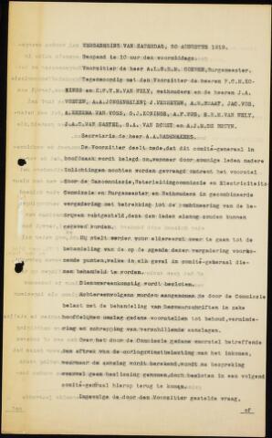 Roosendaal: Notulen gemeenteraad (besloten), 1919-1935 1919