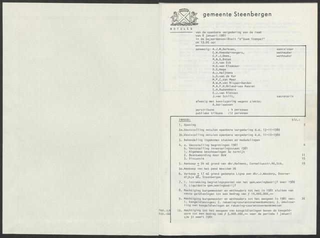 Steenbergen: Notulen gemeenteraad, 1920-1996 1981-01-01