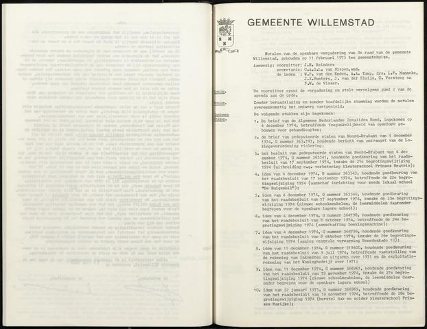 Willemstad: Notulen gemeenteraad, 1927-1995 1975-01-01