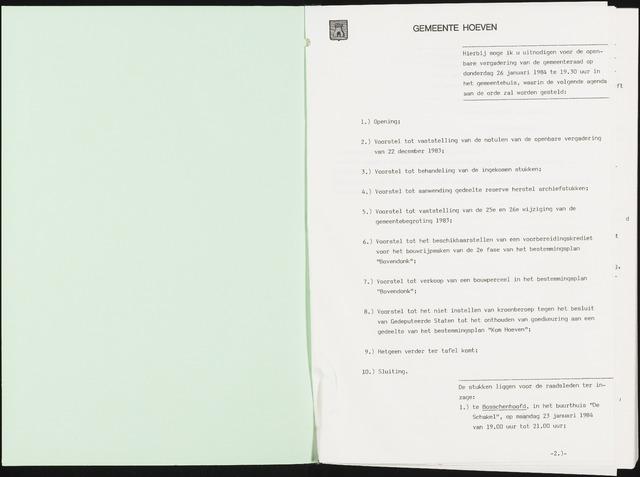 Hoeven: Notulen gemeenteraad, 1928-1996 1984-01-01