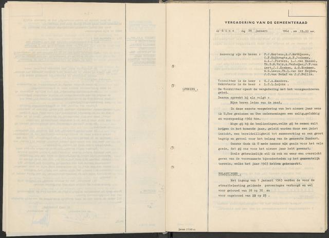 Zundert: Notulen gemeenteraad, 1934-1988 1964-01-01