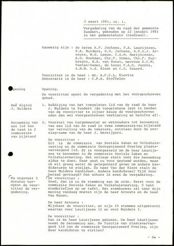 Zundert: Notulen gemeenteraad, 1934-1988 1981-01-01