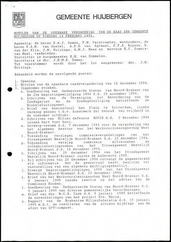 Huijbergen: Notulen gemeenteraad 1935-1996 1995-01-01