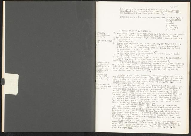 Standdaarbuiten: Notulen gemeenteraad, 1937-1996 1950-01-01