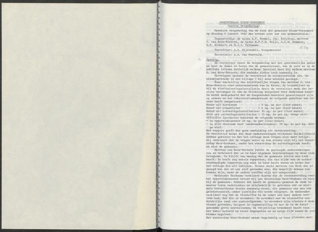 Nieuw-Vossemeer: Notulen gemeenteraad, 1957-1996 1982-01-01