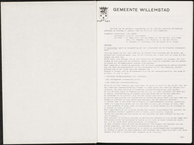 Willemstad: Notulen gemeenteraad, 1927-1995 1982-01-01
