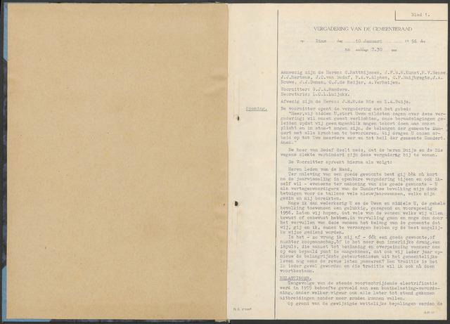 Zundert: Notulen gemeenteraad, 1934-1988 1956-01-01