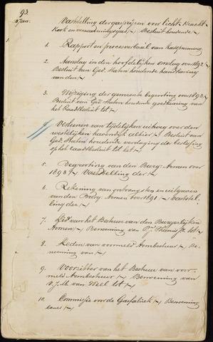 Roosendaal: Inhoudsopgaven notulen, 1849-1903 1893