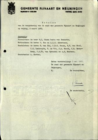 Fijnaart en Heijningen: notulen gemeenteraad, 1934-1995 1962
