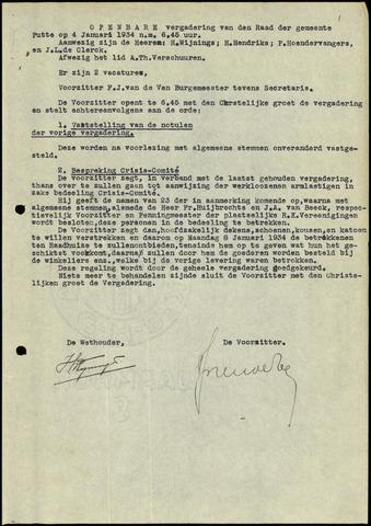 Putte: Notulen gemeenteraad, 1928-1996 1934-01-01