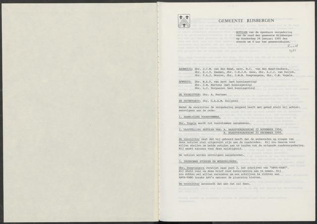 Rijsbergen: Notulen gemeenteraad, 1940-1996 1985