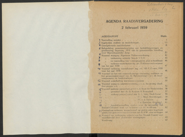 Steenbergen: Notulen gemeenteraad, 1920-1996 1959-01-01