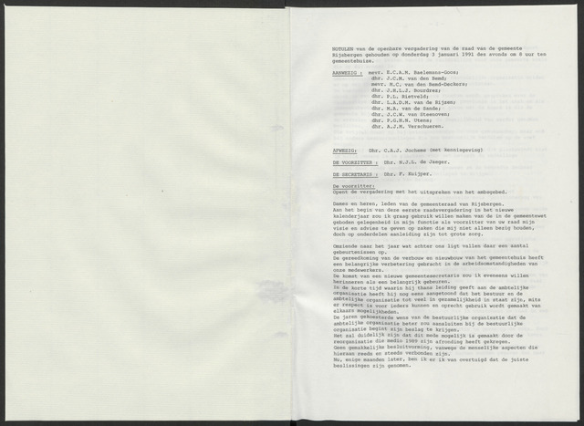 Rijsbergen: Notulen gemeenteraad, 1940-1996 1991