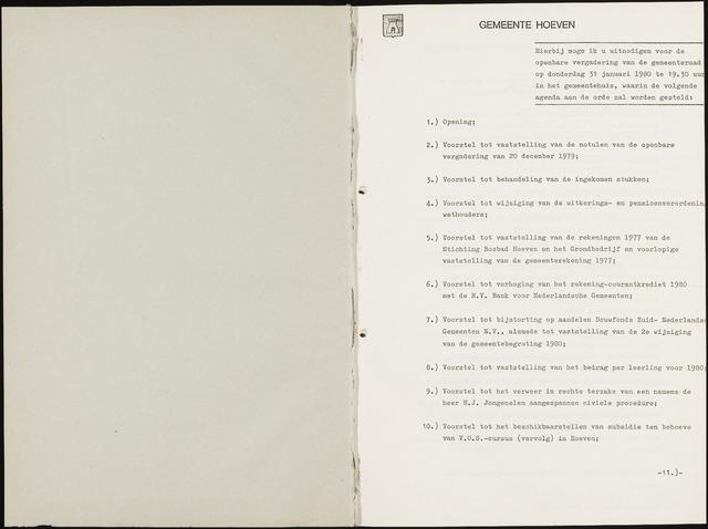 Hoeven: Notulen gemeenteraad, 1928-1996 1980-01-01