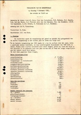 Oudenbosch: Notulen gemeenteraad, 1939-1994 1956-01-01