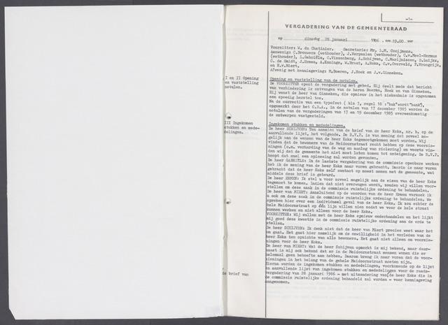 Rucphen: Notulen gemeenteraad, dec. 1949-1998 1986-01-01