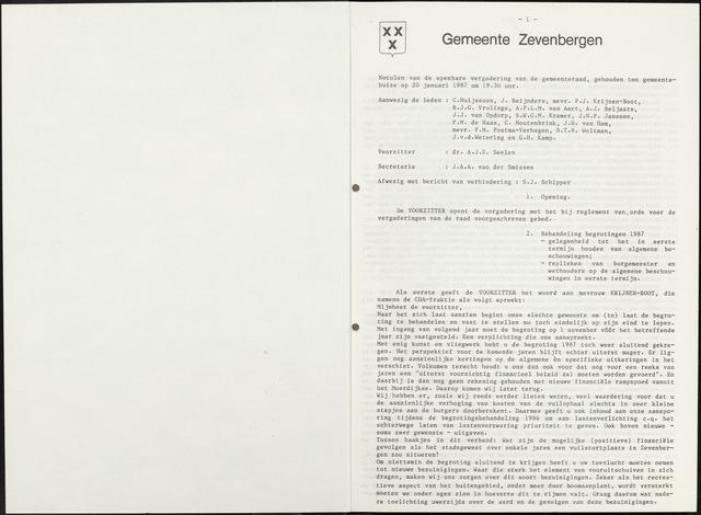 Zevenbergen: Notulen gemeenteraad, 1930-1996 1987-01-01