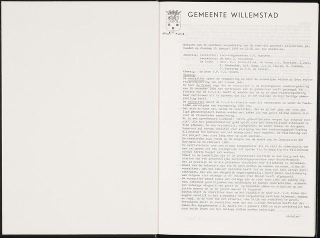 Willemstad: Notulen gemeenteraad, 1927-1995 1985-01-01