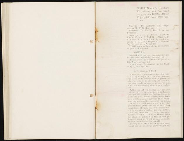 Klundert: Notulen gemeenteraad, mei 1933-1996 1935