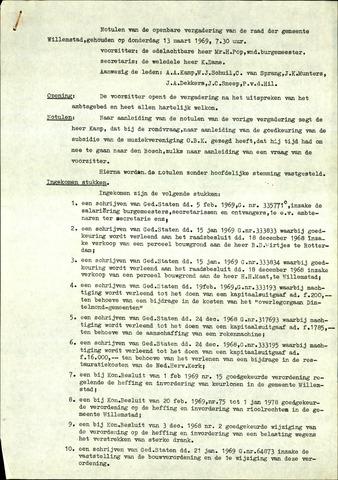 Willemstad: Notulen gemeenteraad, 1927-1995 1969-01-01