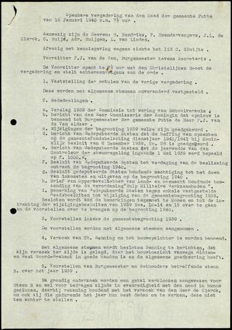 Putte: Notulen gemeenteraad, 1928-1996 1940-01-01