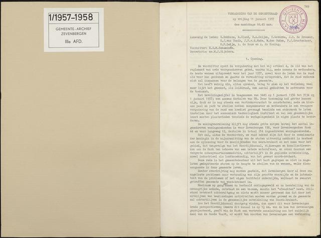 Zevenbergen: Notulen gemeenteraad, 1930-1996 1957-01-01