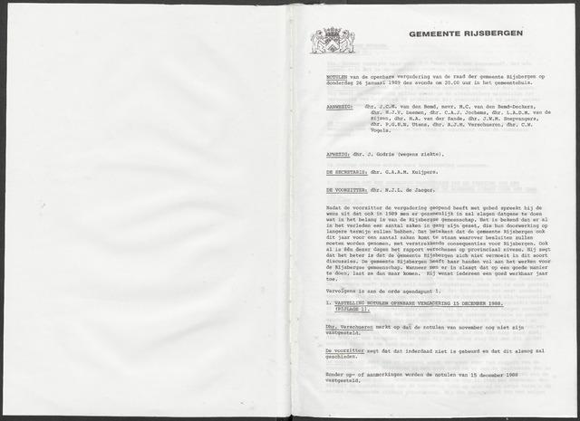 Rijsbergen: Notulen gemeenteraad, 1940-1996 1989