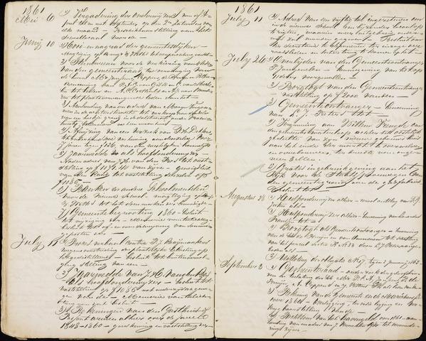 Roosendaal: Inhoudsopgaven notulen, 1849-1903 1861