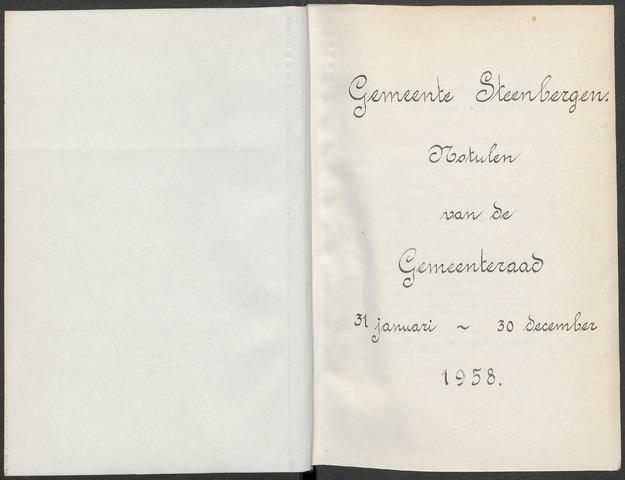Steenbergen: Notulen gemeenteraad, 1920-1996 1958-01-01