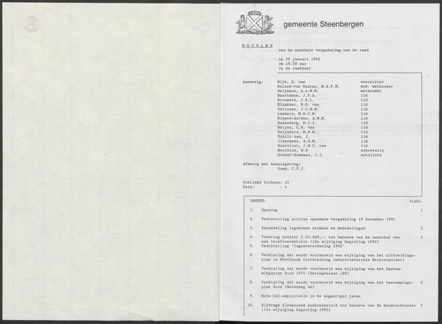 Steenbergen: Notulen gemeenteraad, 1920-1996 1992-01-01