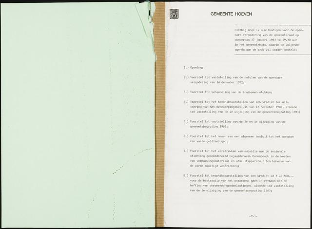 Hoeven: Notulen gemeenteraad, 1928-1996 1983-01-01
