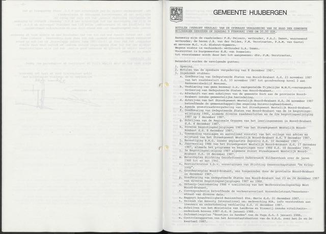 Huijbergen: Notulen gemeenteraad 1935-1996 1988-01-01