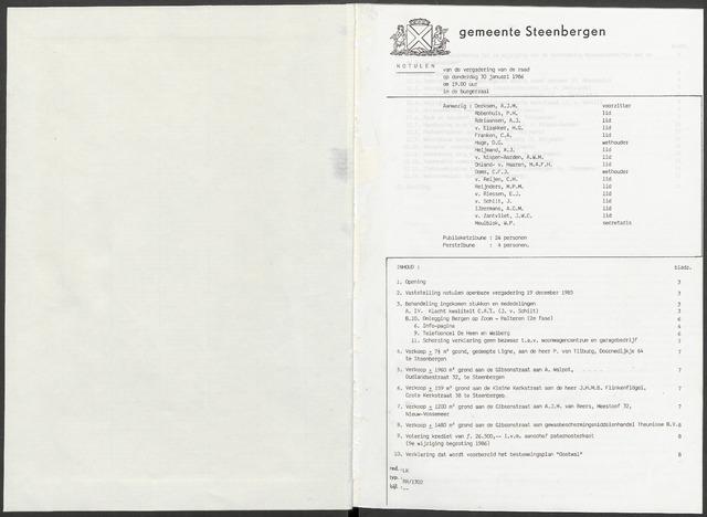 Steenbergen: Notulen gemeenteraad, 1920-1996 1986-01-01