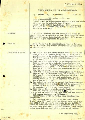Willemstad: Notulen gemeenteraad, 1927-1995 1954-01-01