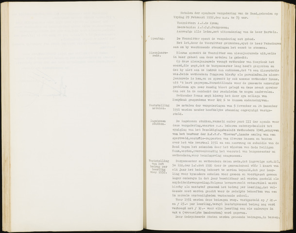 Hoeven: Notulen gemeenteraad, 1928-1996 1952-01-01