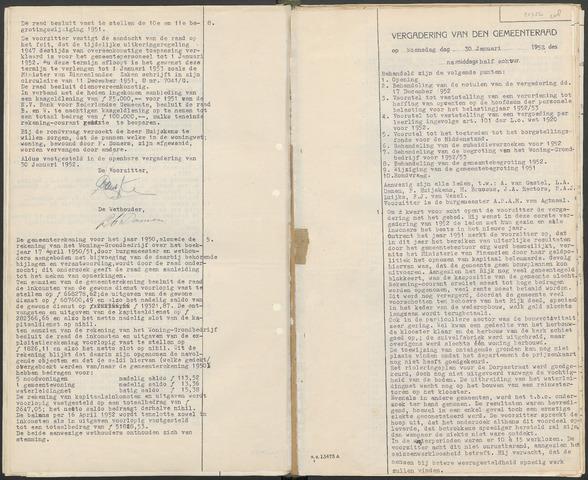 Huijbergen: Notulen gemeenteraad 1935-1996 1952-01-01