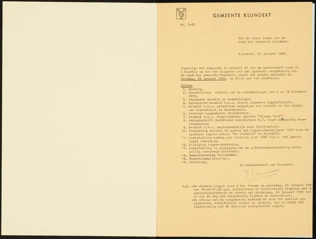 Klundert: Notulen gemeenteraad, mei 1933-1996 1980