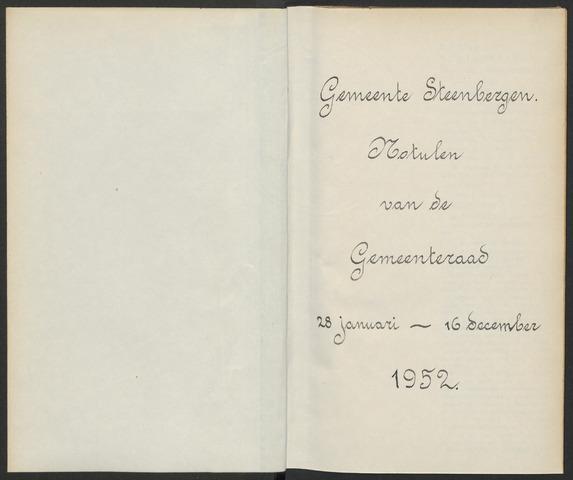 Steenbergen: Notulen gemeenteraad, 1920-1996 1952-01-01