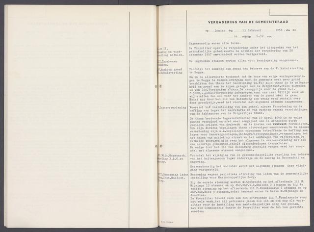 Rucphen: Notulen gemeenteraad, dec. 1949-1998 1958-01-01