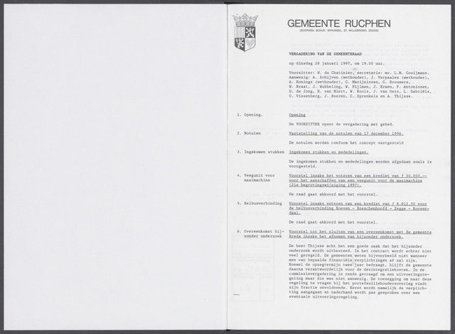 Rucphen: Notulen gemeenteraad, dec. 1949-1998 1997-01-01