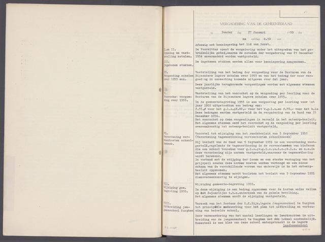 Rucphen: Notulen gemeenteraad, dec. 1949-1998 1955-01-01