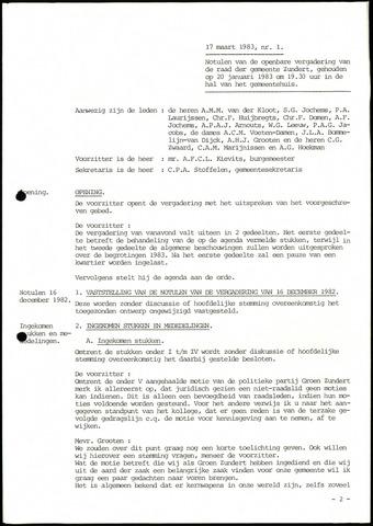 Zundert: Notulen gemeenteraad, 1934-1988 1983-01-01