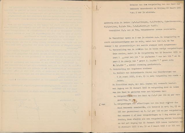 Ossendrecht: Notulen gemeenteraad, 1920-1996 1936