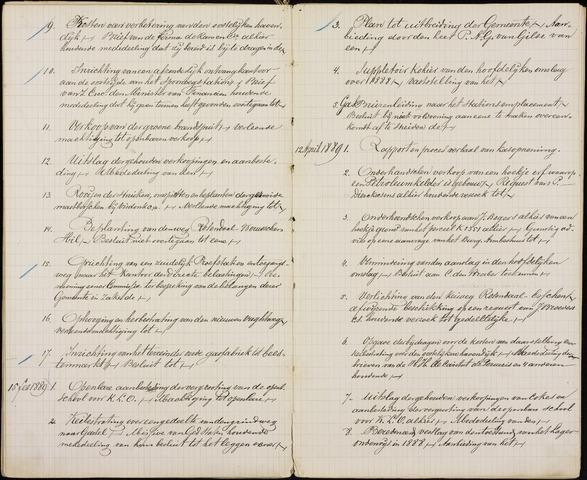 Roosendaal: Inhoudsopgaven notulen, 1849-1903 1889