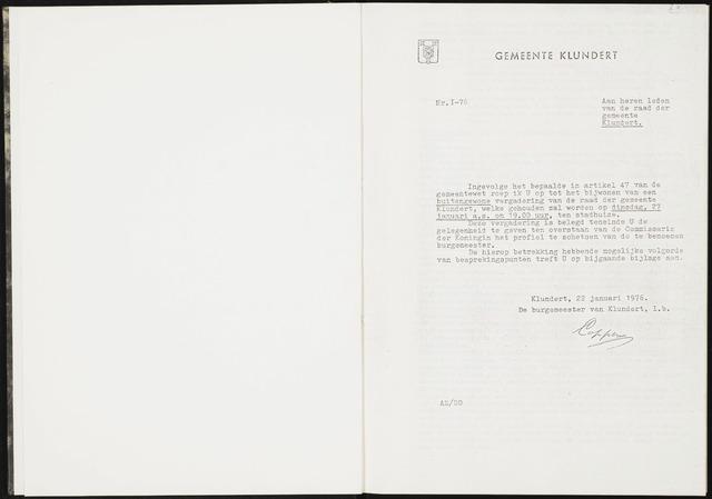 Klundert: Notulen gemeenteraad, mei 1933-1996 1976