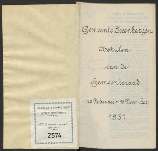 Steenbergen: Notulen gemeenteraad, 1920-1996 1931-01-01